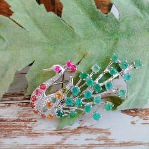 Jewelry - Multi-Gem Peacock Broach